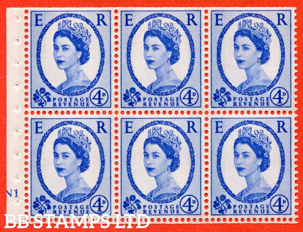 "SG. 616. SB107d. 4d Ultramarine. A fine UNMOUNTED MINT cylinder "" N1 no dot "" booklet pane of 6. Perf type (I) with TRIMMED PERFS. Smooth edge. White Paper. With the listed variety ""Y Flaw "" Row 2/1."