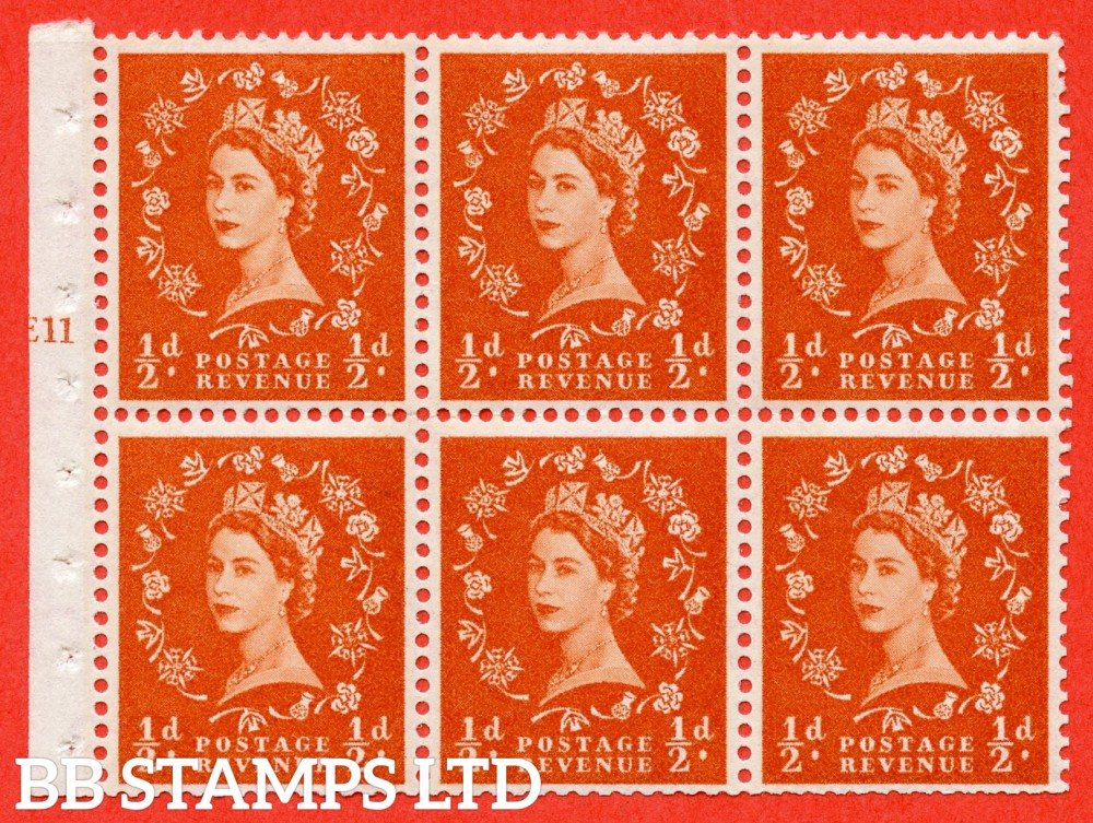 """SG. 610. SB15. ½d Orange Red. A fine UNMOUNTED MINT cylinder """" E11 T no dot """" booklet pane of 6. Perf type (Ieb) with GOOD PERFS. Smooth edge."""