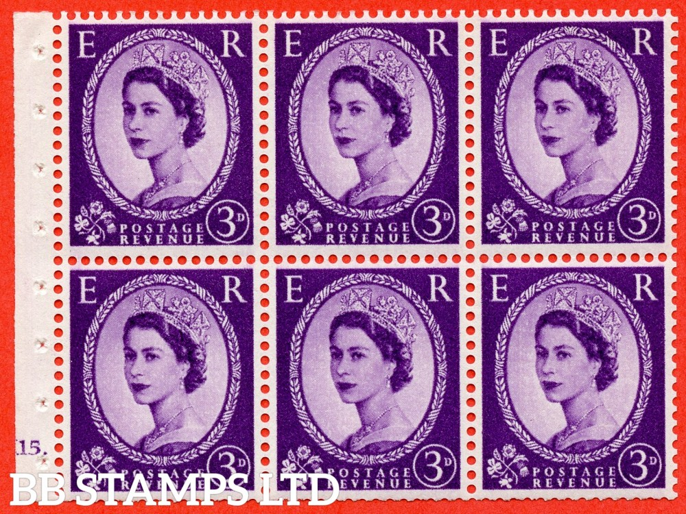 "SG. 575. SB92. 3d Deep Lilac. A fine UNMOUNTED MINT cylinder "" K15 dot "" booklet pane of 6. Perf type (Ieb) with TRIMMED PERFS. Smooth edge. Cream paper."