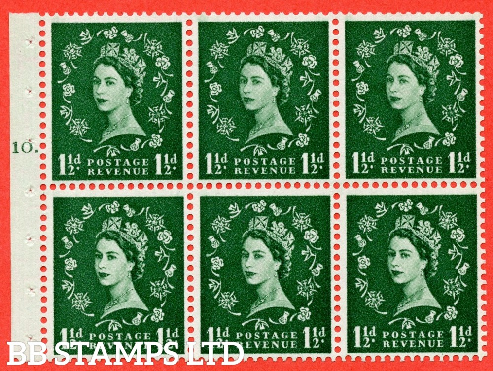 "SG. 542. SB62. 1½d green. A fine mounted mint cylinder "" G10 T dot "" booklet pane of 6. Perf type (Ieb) with TRIMMED PERFS. Smooth edge."