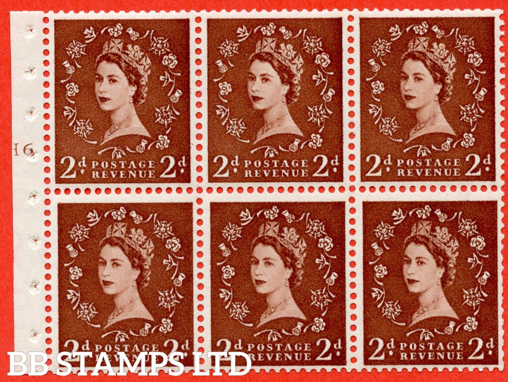 "SG. 543b. SB78. 2d Light red-brown. A fine UNMOUNTED MINTcylinder "" H6 T no dot "" booklet pane of 6. Perf type (I) with TRIMMED PERFS. Smooth edge."
