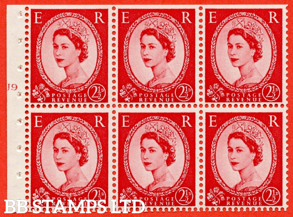"SG. 544b. SB81. 2½d carmine - red. A fine UNMOUNTED MINT "" J9 T no dot "" booklet pane of 6. Perf type (I) with TRIMMED PERFS. Smooth edge."