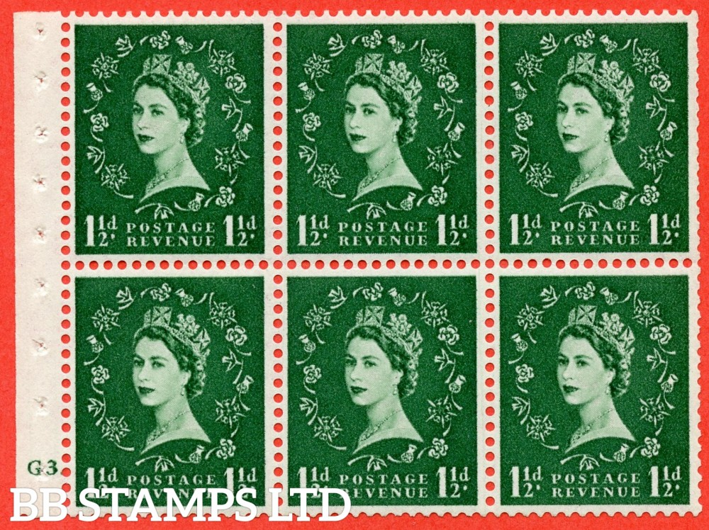 "SG. 517. SB59. 1½d green. A fine UNMOUNTED MINT cylinder "" G3 dot "" booklet pane of 6. Perf type (Ieb) with TRIMMED PERFS. Smooth edge."