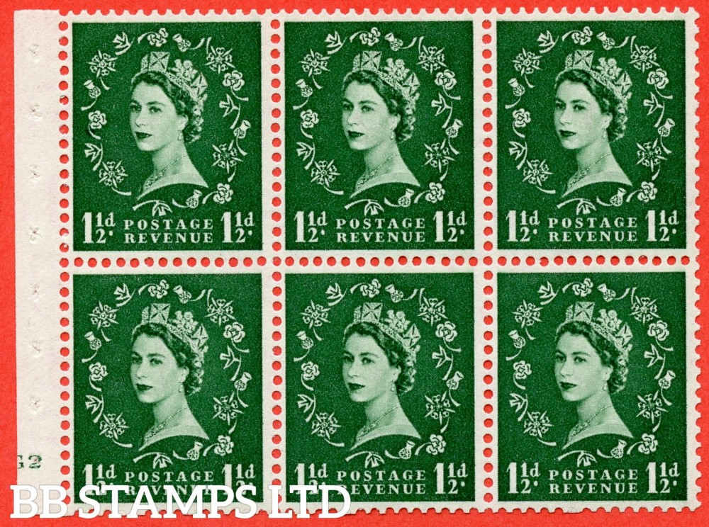 "SG. 517. SB59. 1½d green. A fine mounted mint cylinder "" G2 no dot "" booklet pane of 6. Perf type (I) with TRIMMED PERFS. Smooth edge."