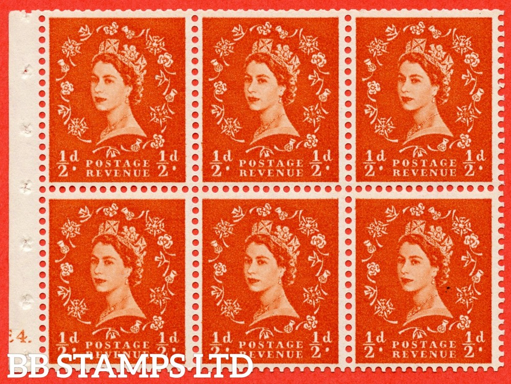 "SG. 570. SB7. ½d orange - red. A fine UNMOUNTED MINT cylinder "" E4  erroneous dot - no dot "" booklet pane of 6. Perf type (I) with TRIMMED PERFS. Smooth edge."