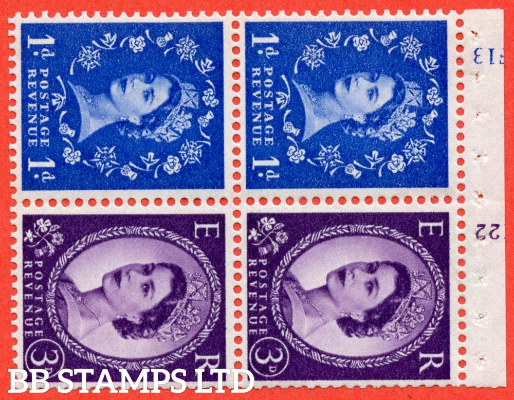 "SG. 611 / 615 . SB50. 1d Ultramarine & 3d Deep Lilac. A fine mounted mint cylinder "" F13 / K22 ( 8mm ) no dot "" booklet pane of 4. Perf type (I) with TRIMMED PERFS. Smooth edge. White Paper."