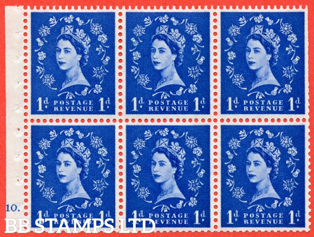 "SG. 611. SB54. 1d Ultramarine. A fine UNMOUNTED MINT cylinder "" F10 dot "" booklet pane of 6. Perf type (Ieb) with TRIMMED PERFS. Smooth edge."