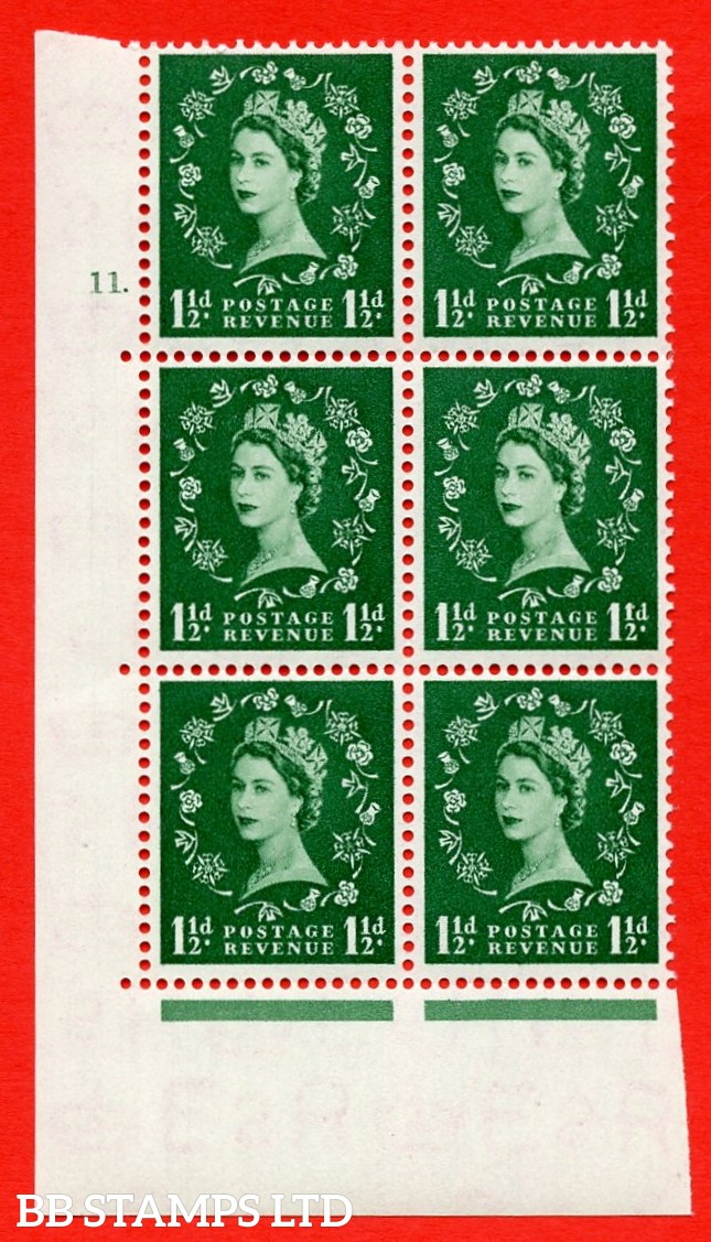 "SG. 517. S25. 1½d Green. A superb UNMOUNTED MINT "" cylinder 11 dot "" control block of 6 with perf type A E/I."