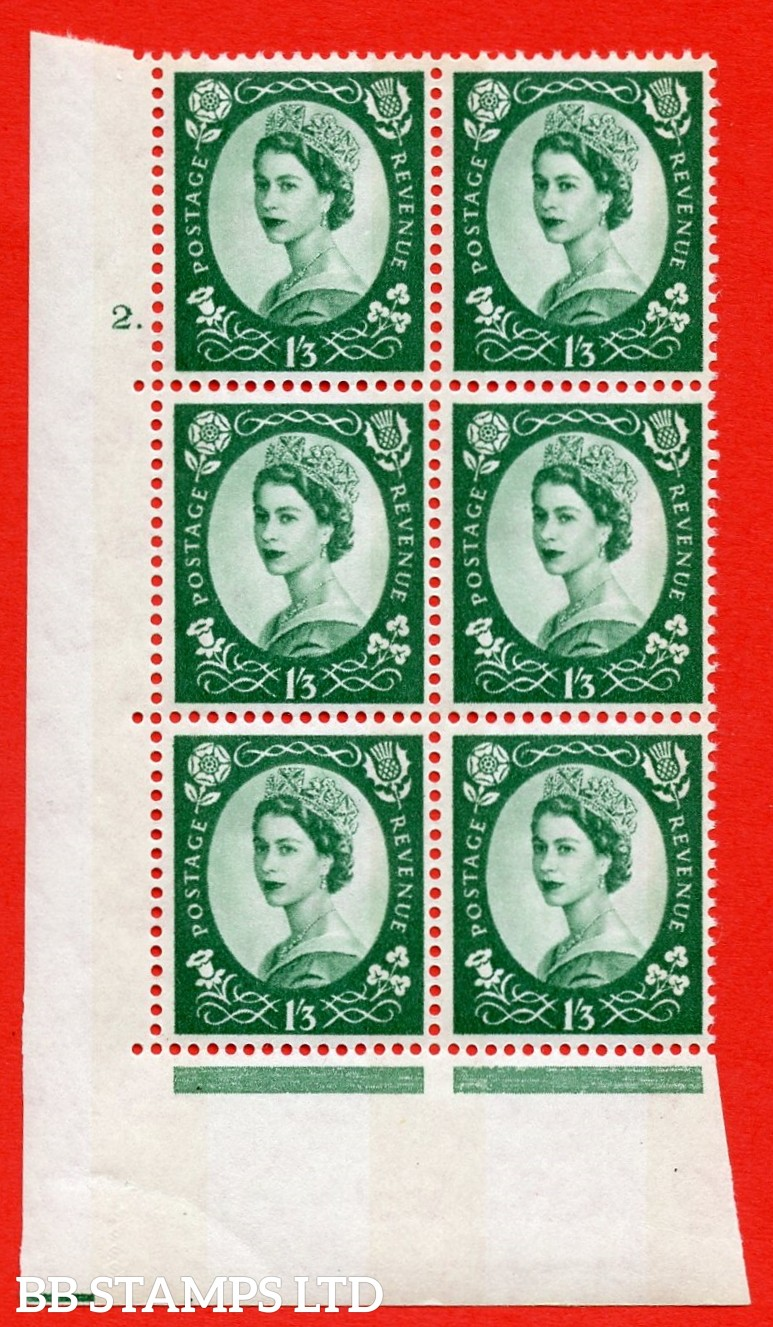 "SG.618. S148b. 1/_3d Green. Photo A superb UNMOUNTED MINT "" cylinder 2 dot "" control block of 6 with perf type A (E/I). violet Phosphor 8mm Band."