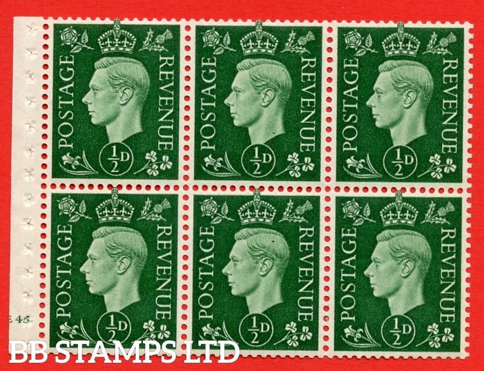 SG. QB1 Perf Type B3(I). ½d Green x 6 Pane, MOUNTED MINT Watermark Upright. Cylinder Pane E45 no dot ( SG. 462b ) Perf Type B3(I). Good Perfs.