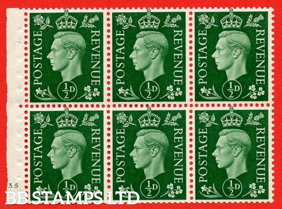 SG. QB1 Perf Type B4(E). ½d Green x 6 Pane, MOUNTED MINT Watermark Upright. Cylinder Pane E35 no dot ( SG. 462b ) Perf Type B4(E). Trimmed Perfs.