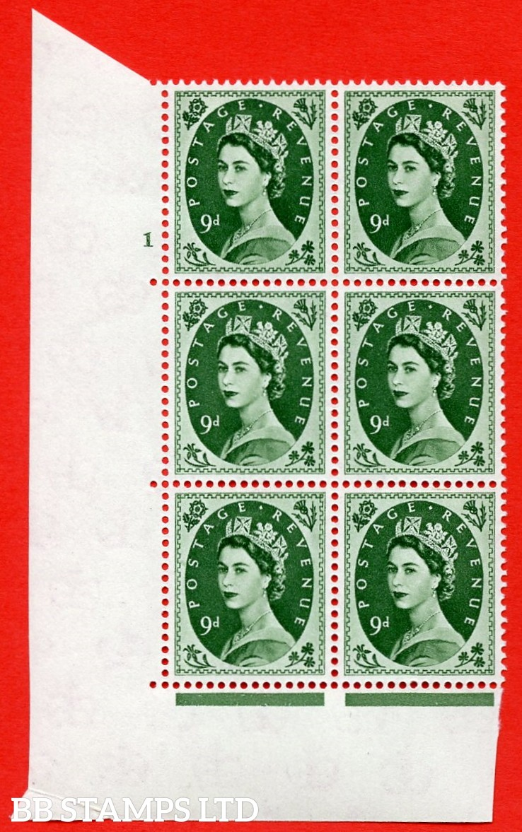 """SG S126. 9d Bronze Green  A superb UNMOUNTED MINT """" cylinder 1 no dot """" control block of 6 with perf type A (E/I)."""