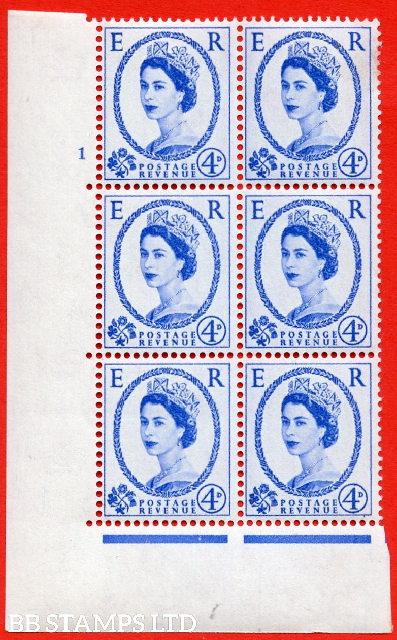 """SG S83. 4d ultramarine  A superb UNMOUNTED MINT """" cylinder 1 no dot """" control block of 6 with perf type A (E/I)."""