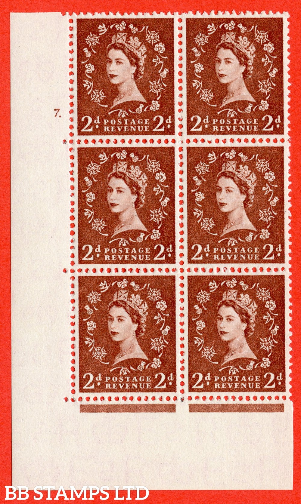 "SG. 543b. S38. 2d. Light Red-brown. A fine lightly mounted mint "" cylinder 7 dot "" control block of 6 with perf type A E/I."