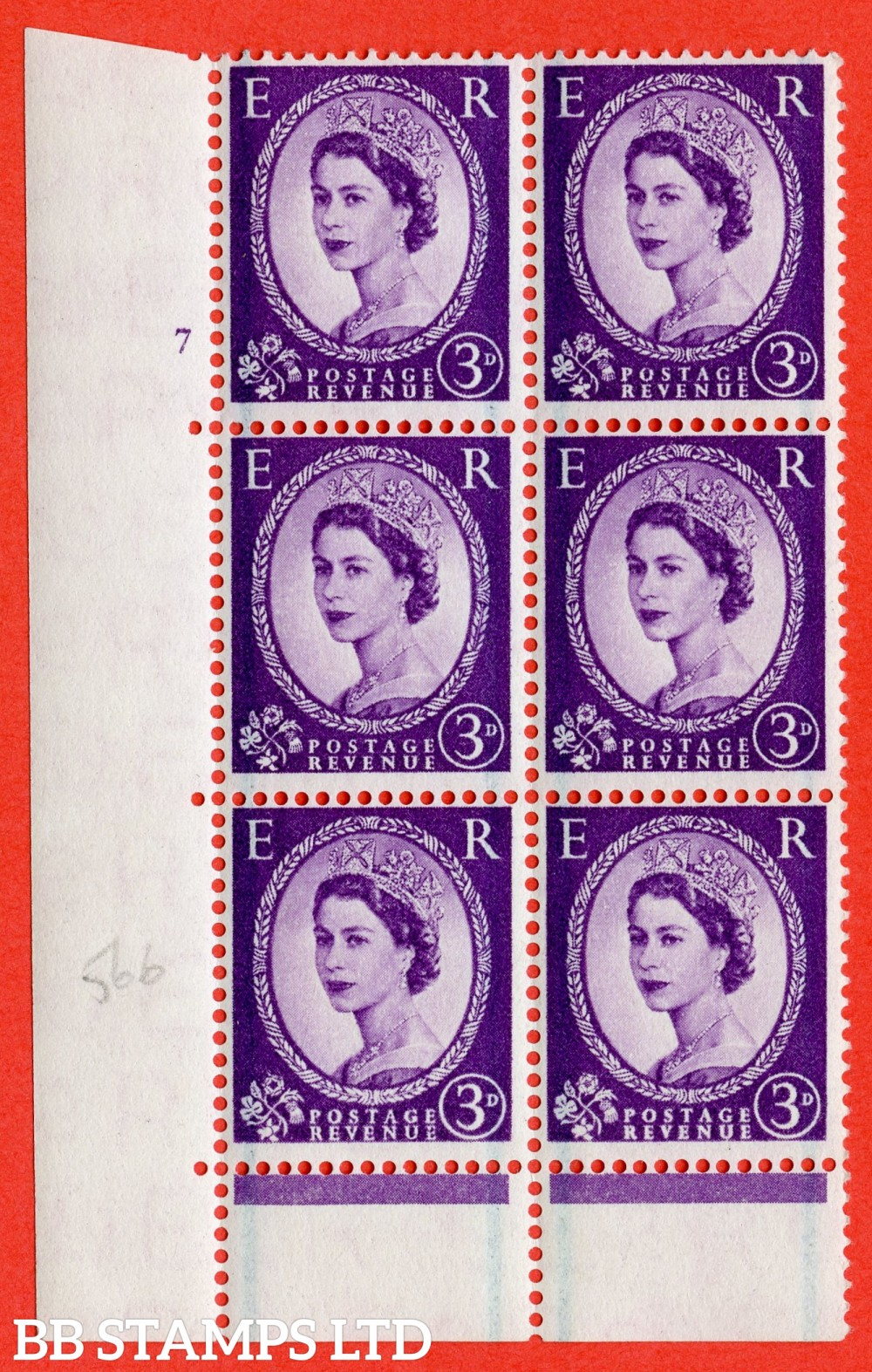 "SG. 566. S69. 3d Deep Lilac. A superb UNMOUNTED MINT"" cylinder 7 no dot "" control block of 6 with perf type C E/P."