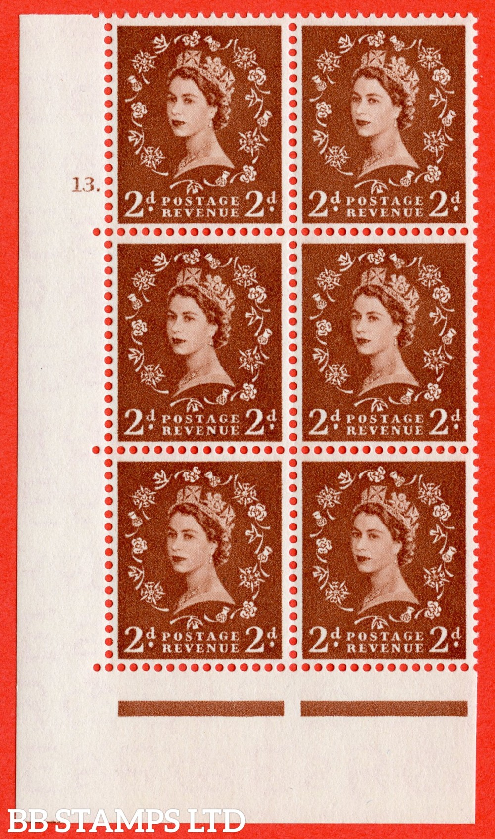 "SG. 543b. S38. 2d. Light Red-brown. A superb UNMOUNTED MINT "" cylinder 13 dot "" control block of 6 with perf type A E/I."