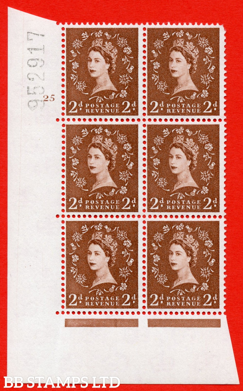 "SG. 573. S40. 2d light red brown . A superb UNMOUNTED MINT "" cylinder 24 dot "" control block of 6 with perf type A E/I. CREAM paper."