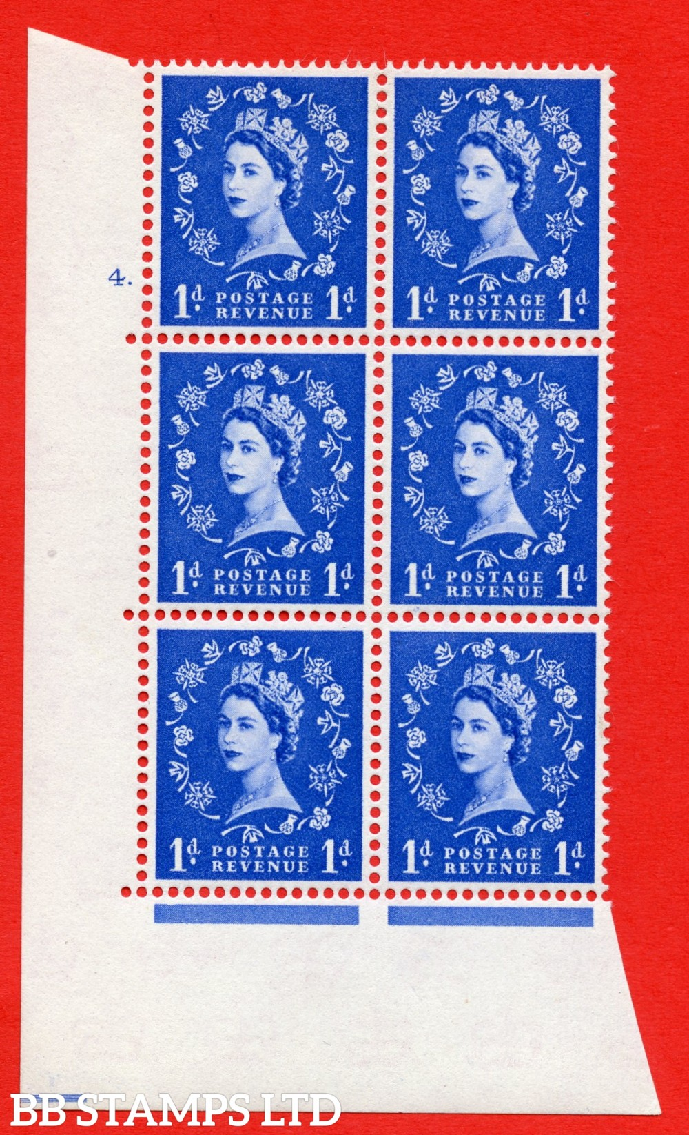 """SG. 571. S16. 1d Ultramarine. A superb UNMOUNTED MINT """" cylinder 4 dot """" control block of 6 with perf type A E/I. CREAM paper."""