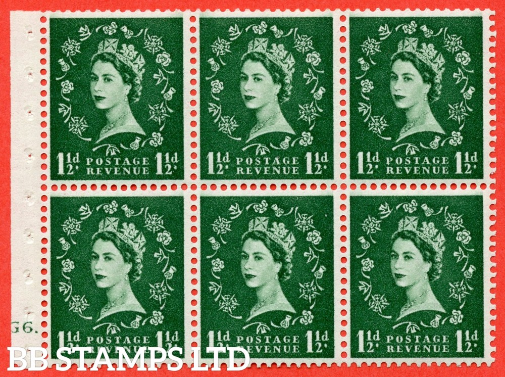 "SG. 542. SB62. 1½d green. A fine mounted mint cylinder "" G6 dot "" booklet pane of 6. Perf type (Ieb) with TRIMMED PERFS. Smooth edge."