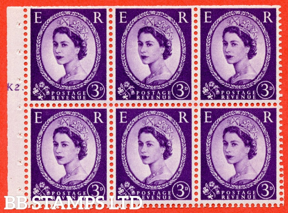 "SG. 545. SB90. 3d Deep Lilac. A fine UNMOUNTED MINT cylinder "" K2 T dot "" booklet pane of 6. Perf type (Iet) with TRIMMED PERFS. Rough edge."