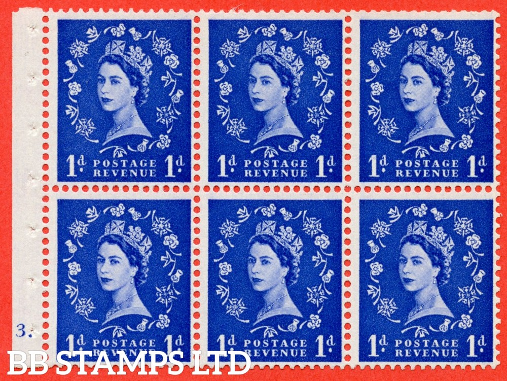 "SG. 571. SB30. 1d Ultramarine. A fine mounted mint cylinder "" F3 dot "" booklet pane of 6. Perf type (Iet) with TRIMMED PERFS. Smooth edge Cream paper."
