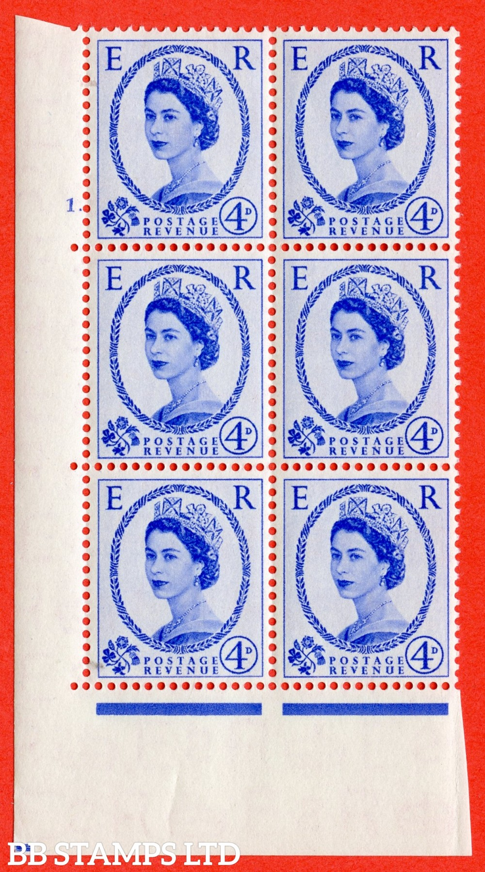 "SG. 521. S81. 4d Ultramarine. A superb UNMOUNTED MINT "" cylinder 1 dot "" control block of 6 with perf type A E/I."