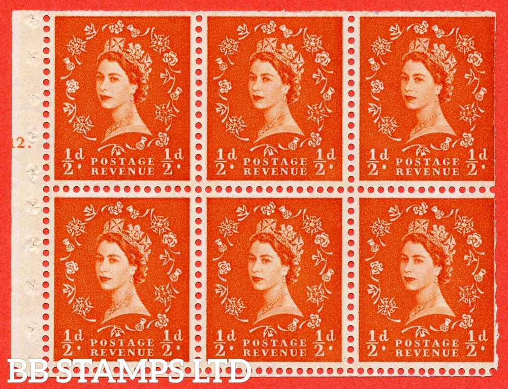"SG. 610. SB16. ½d Orange Red. A fine UNMOUNTED MINT cylinder "" E12 T dot "" booklet pane of 6. Perf type (Ieb) with TRIMMED PERFS. Smooth edge. Cream Paper."