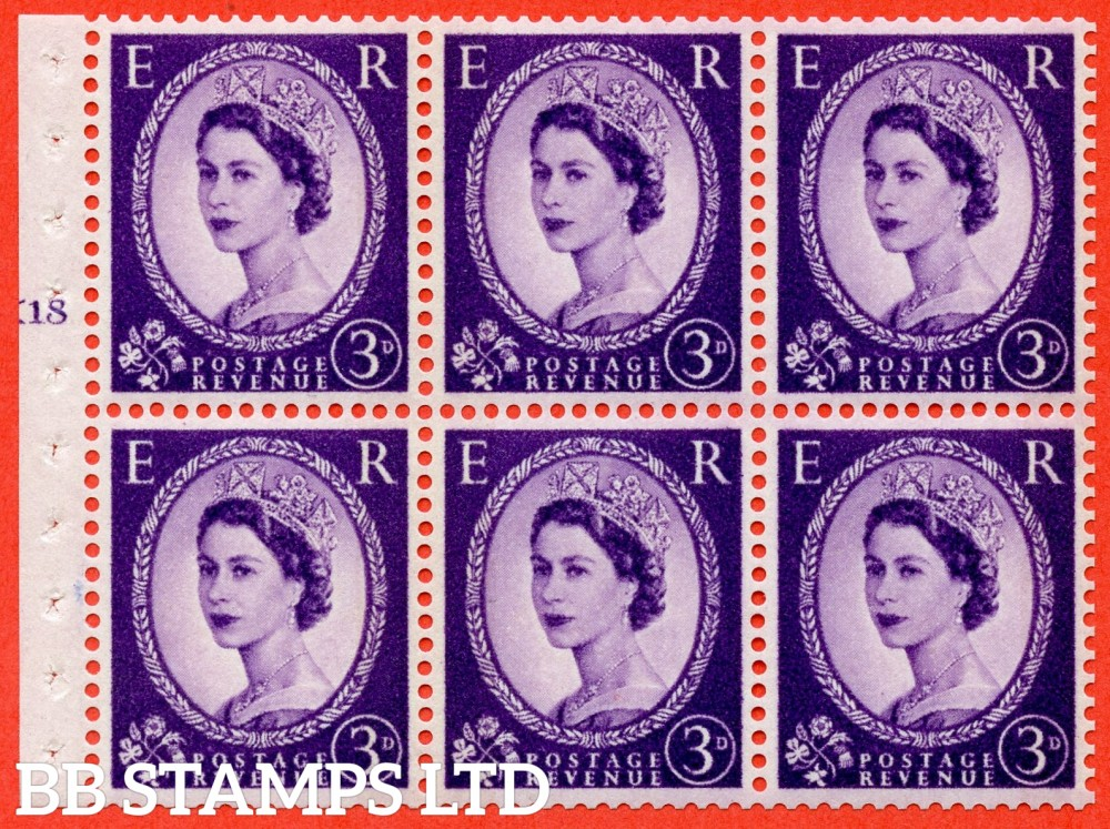 "SG. 615. SB103. 3d Deep Lilac. A fine UNMOUNTED MINT cylinder "" K18 T no dot "" booklet pane of 6. Perf type (I) with GOOD PERFS. Smooth edge. White Paper."