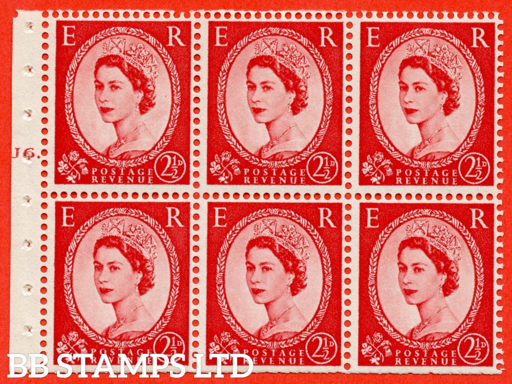 "SG. 544b. SB81. 2½d carmine - red. A fine mounted mint "" J6 T dot "" booklet pane of 6. Perf type (Iet) with TRIMMED PERFS. Smooth edge."