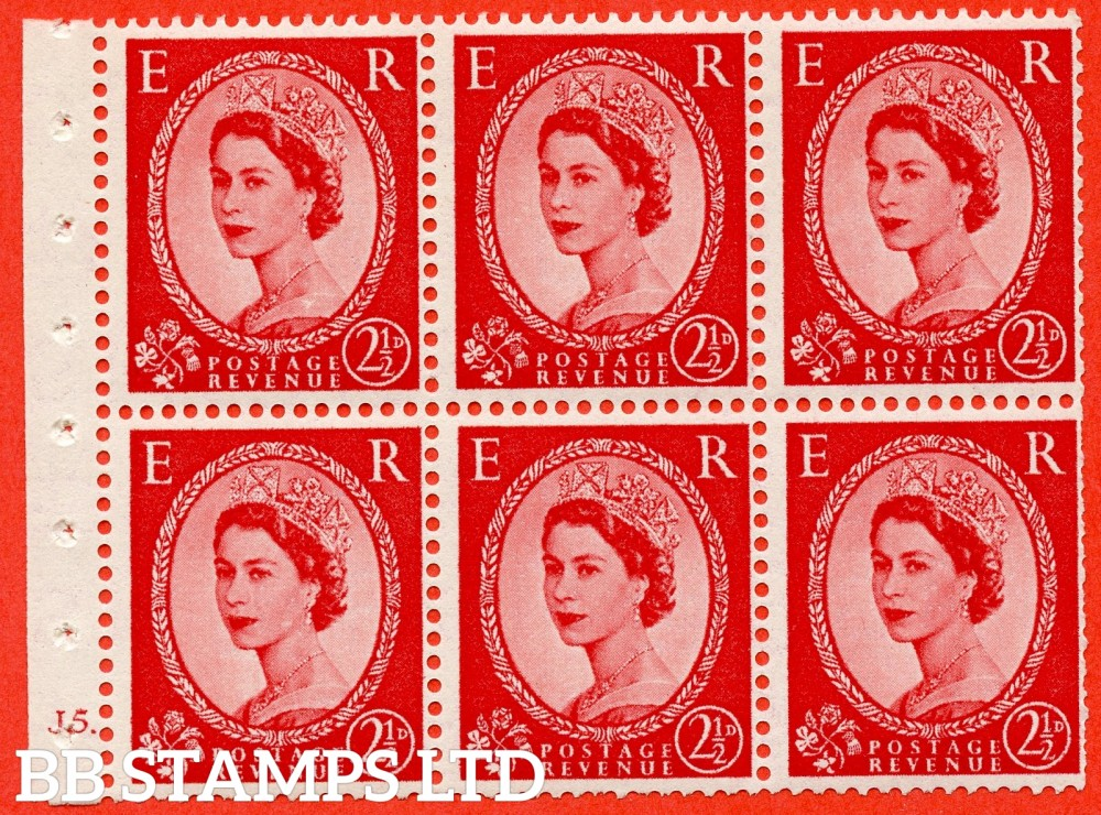 "SG. 519 b. SB80. 2½d carmine - red. A fine UNMOUNTED MINT cylinder "" J5 dot "" booklet pane of 6. Perf type (Ieb) with TRIMMED PERFS. Smooth edge."