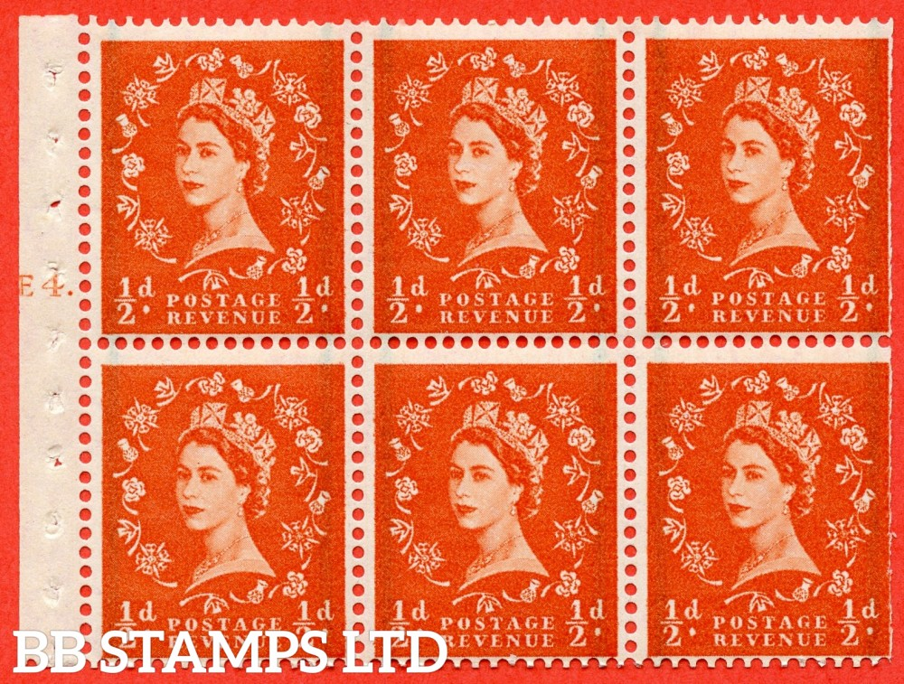"SG. 587. SB14. ½d Orange Red. A fine UNMOUNTED MINT cylinder "" E4 T dot "" booklet pane of 6. Perf type (Ieb) with TRIMMED PERFS. Smooth edge."