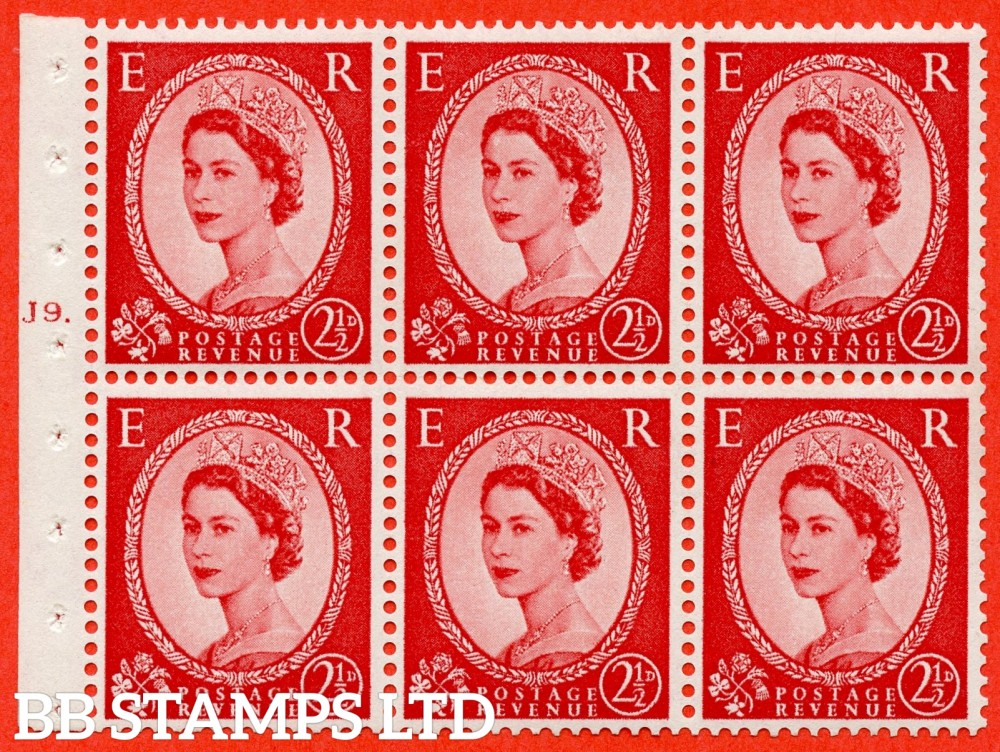 "SG. 574. SB82. 2½d Carmine Red Type II. A fine UNMOUNTED MINT cylinder "" J9 T dot "" booklet pane of 6. Perf type (Ieb) with GOOD PERFS. Smooth edge. Cream paper."