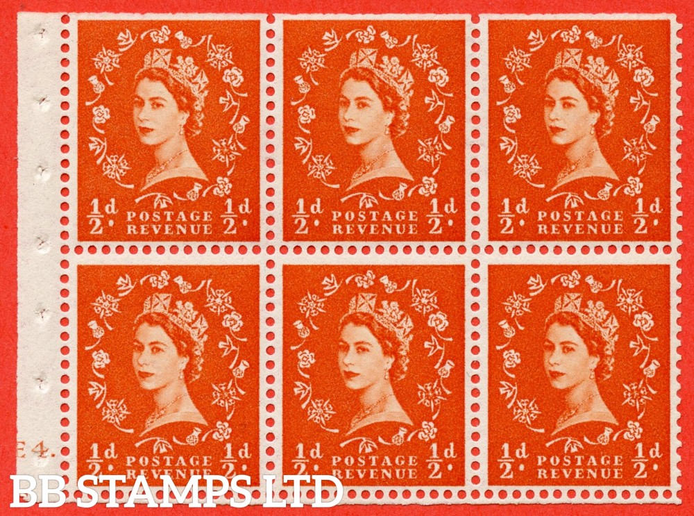 "SG. 540. SB4. ½d orange - red. A fine UNMOUNTED MINT cylinder "" E4 dot "" booklet pane of 6. Perf type (Ieb) with TRIMMED PERFS. Smooth edge."
