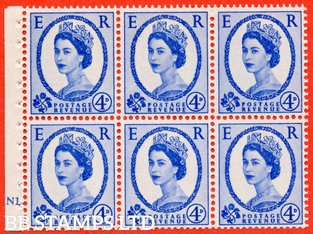 "SG. 576a. SB105. 4d Deep Ultramarine. A fine UNMOUNTD MINT cylinder "" N1 dot "" booklet pane of 6. Perf type (Iet) with GOOD PERFS. Smooth edge. White paper"