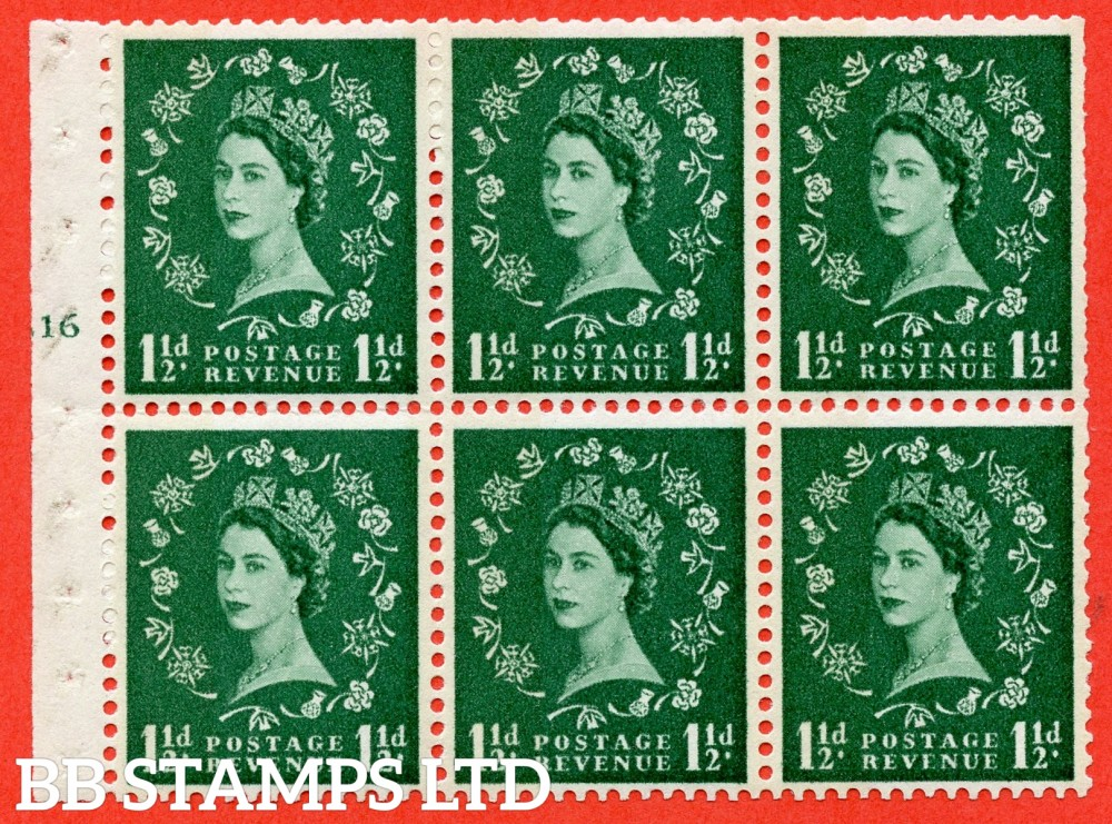 "SG. 612. SB73. 1½d Green. A fine mounted mint cylinder "" G16 T no dot "" booklet pane of 6. Perf type (I) with TRIMMED PERFS. Smooth edge. White Paper."