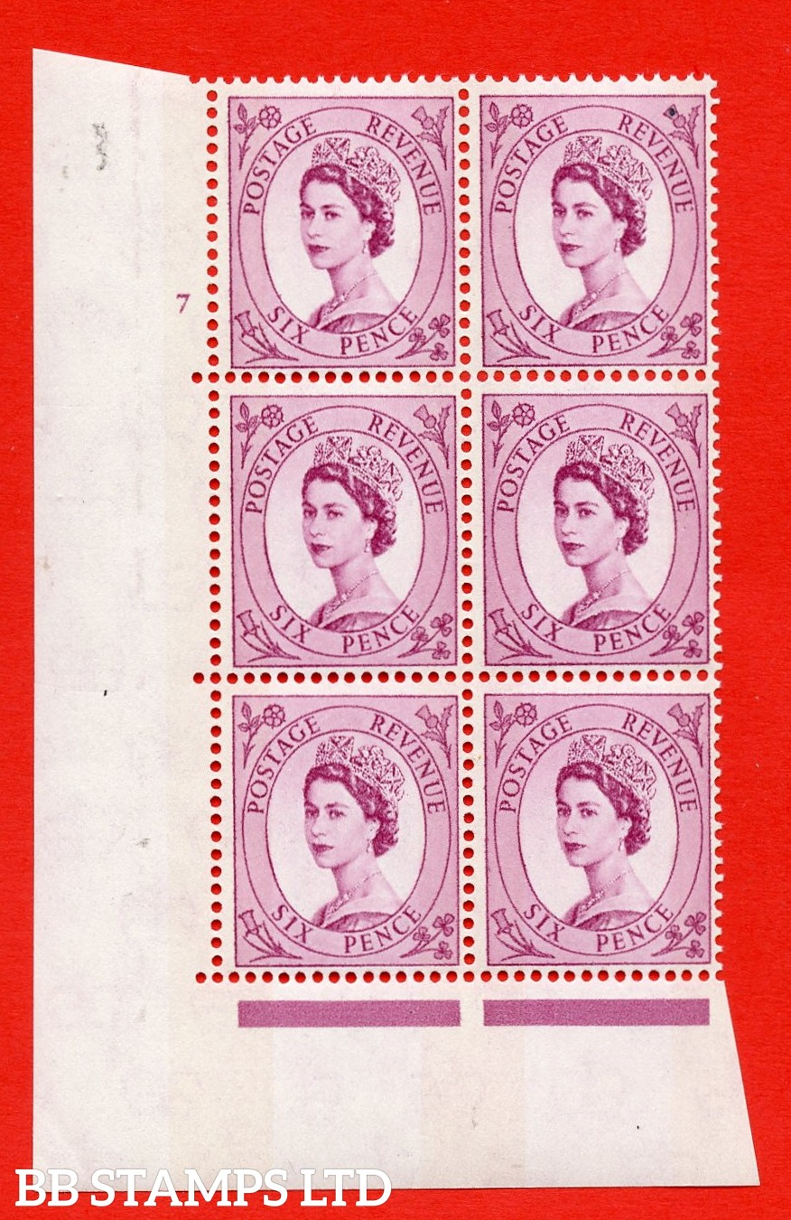 "SG.617. S110. 6d Deep claret. Photo. A superb UNMOUNTED MINT "" cylinder 7 no dot "" control block of 6 with perf type A (E/I). Blue Phosphor Cream paper."