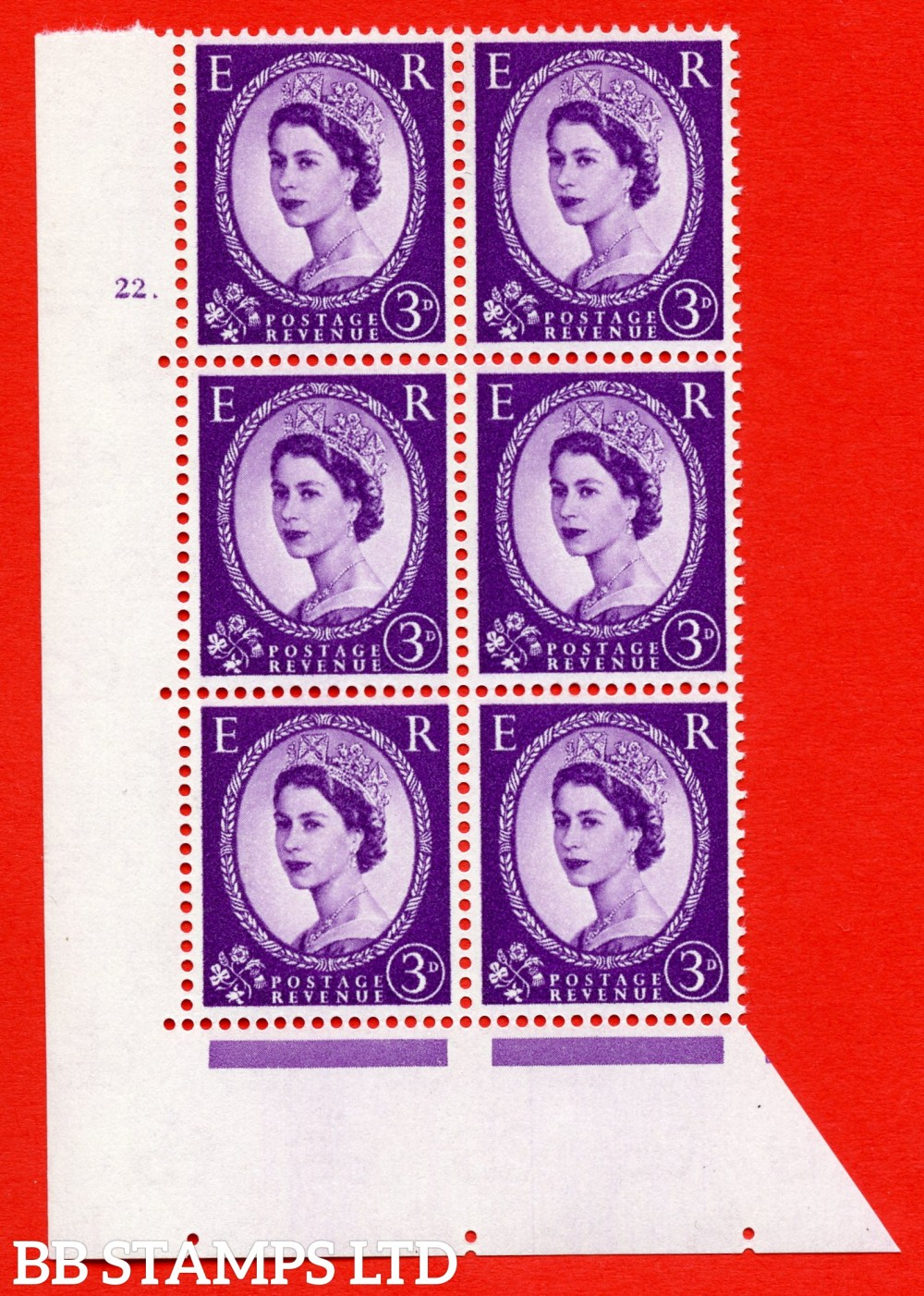 "SG. 575. S70. 3d Deep lilac.Type I. A superb UNMOUNTED MINT "" cylinder 22 dot "" control block of 6 with perf type A E/I. CREAM paper."