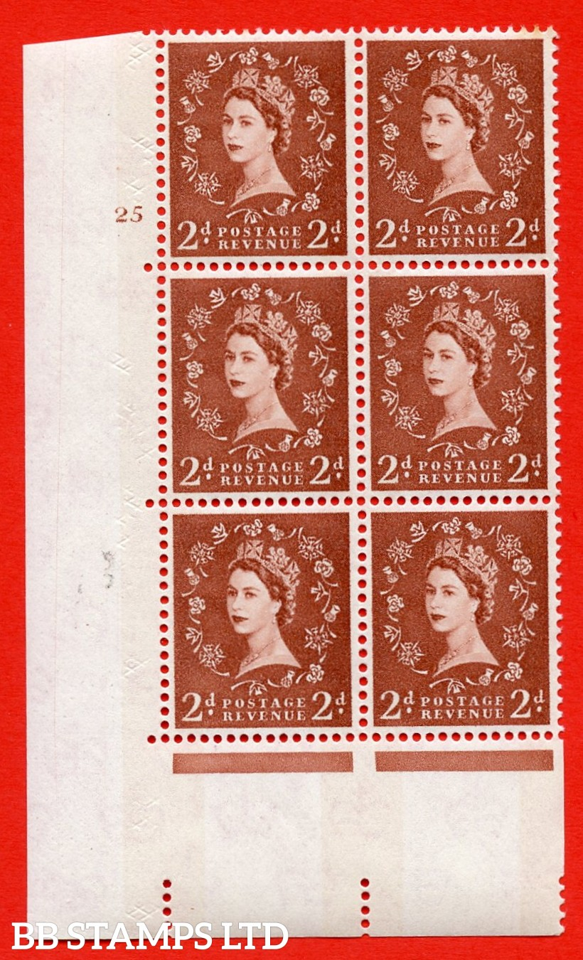 "SG.613a. S47. 2d  light red brown. A superb UNMOUNTED MINT "" cylinder 25 no dot "" control block of 6 with perf type A (E/I). Blue Phosphor White paper"
