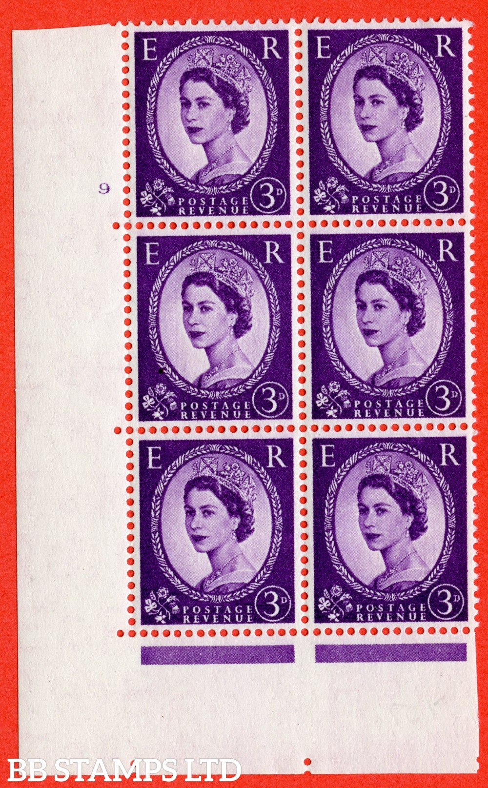 "SG. 545. S68. 3d. Deep - Lilac. A superb UNMOUNTED MINT "" cylinder 9 no dot "" control block of 6 with perf type A E/I."