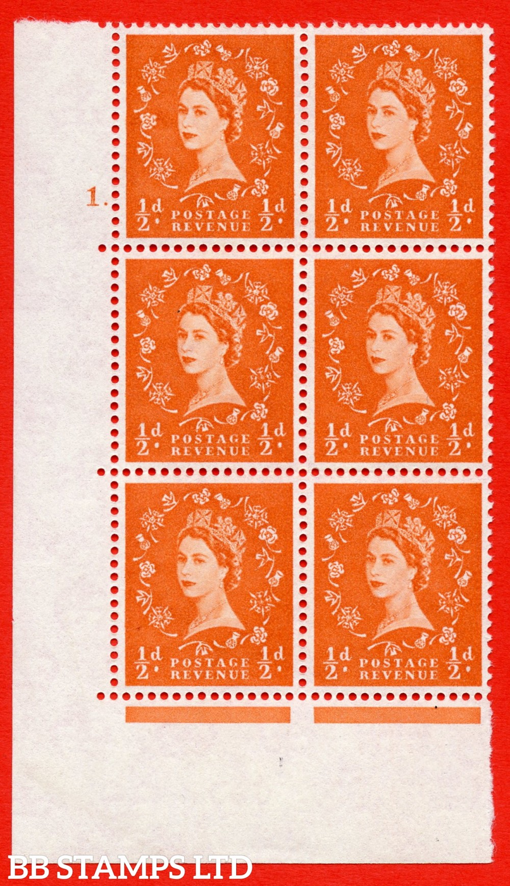 """SG. 570. S5. ½d Orange. A superb UNMOUNTED MINT """" cylinder 1 dot """" control block of 6 with perf type A E/I. WHITE paper."""