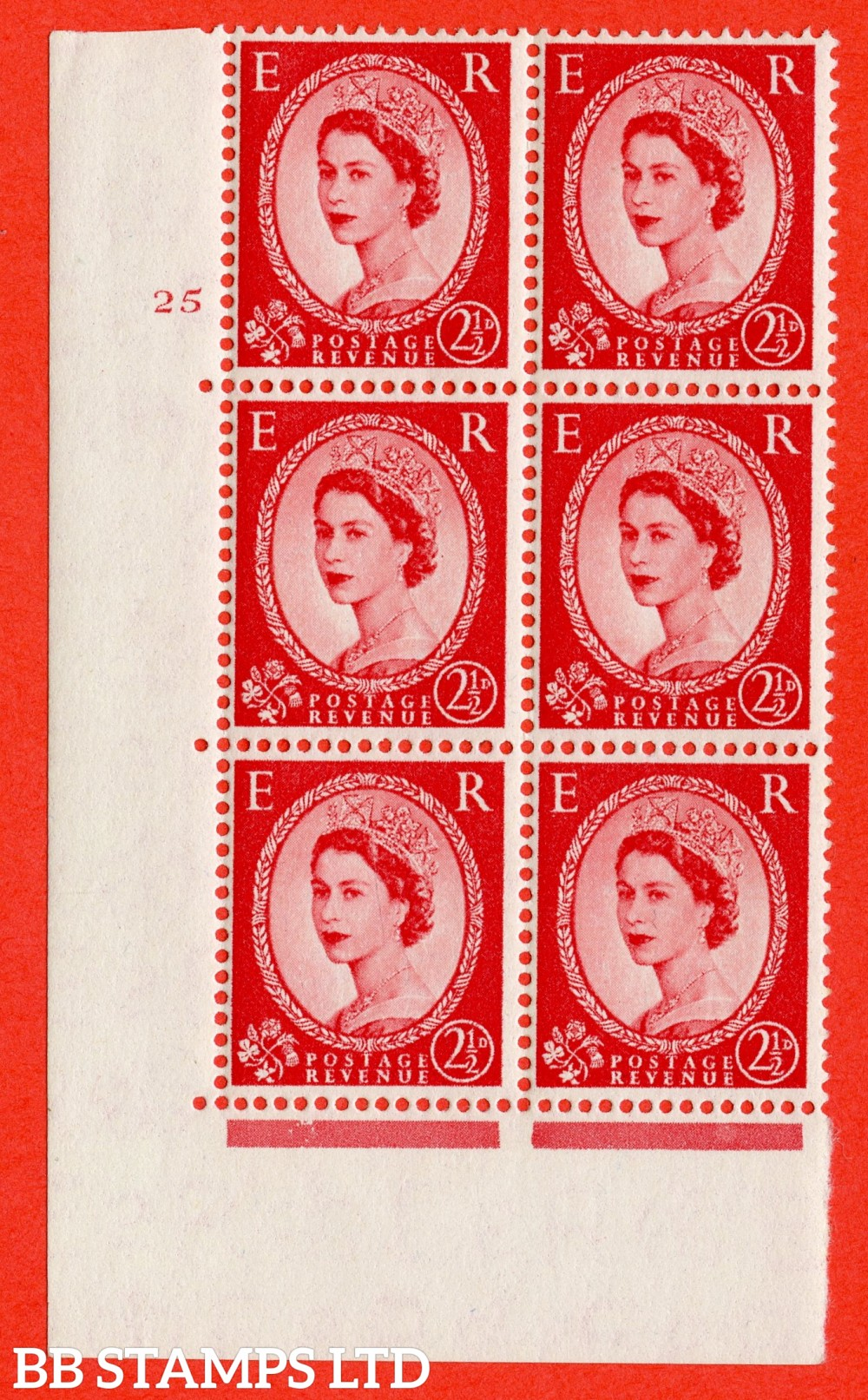 "SG. 544. S52. 2½d. Carmine - Red. A superb UNMOUNTED MINT "" cylinder 25 no dot "" control block of 6 with perf type A E/I."