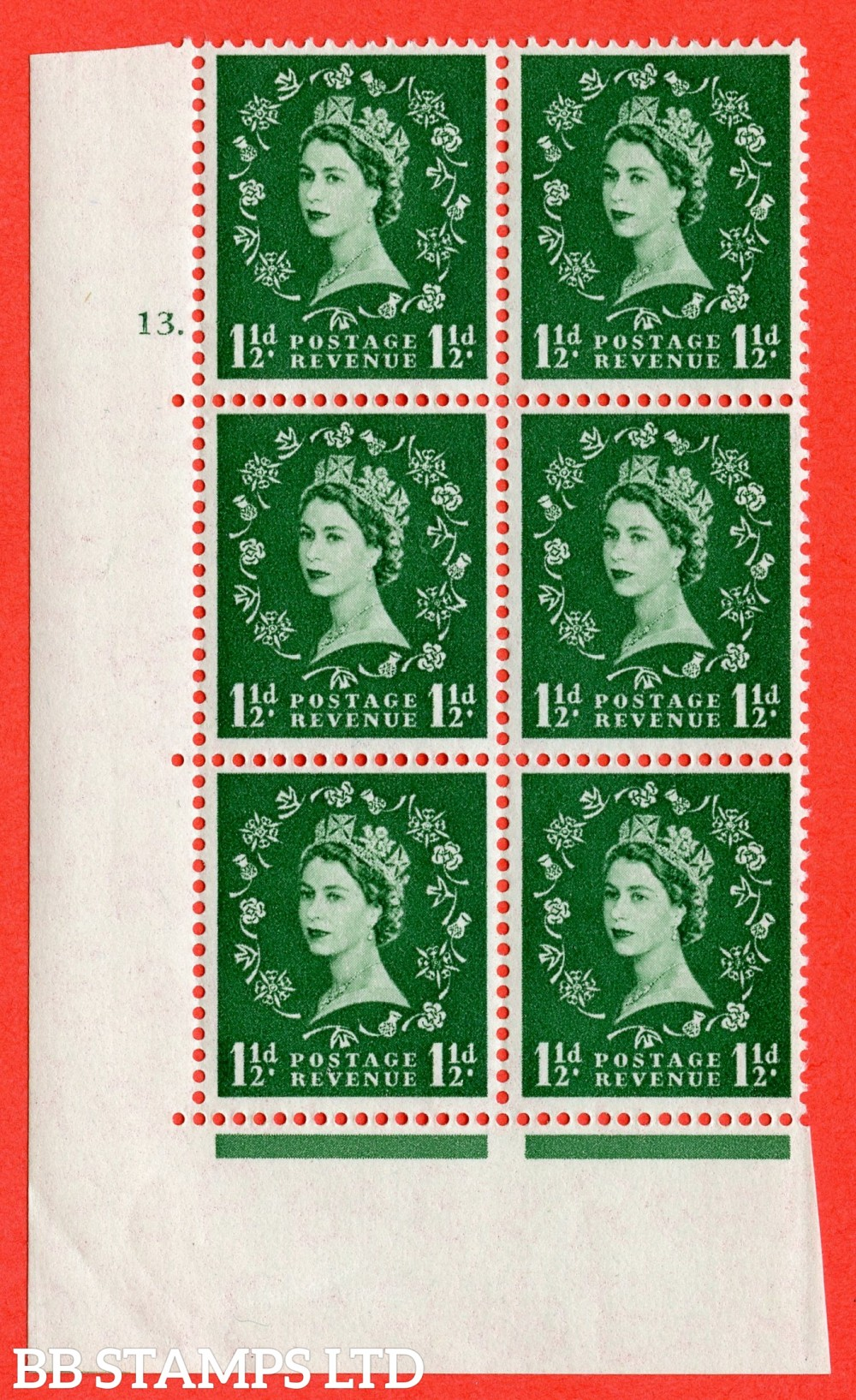 "SG. 542. S26. 1½d. Green. A superb UNMOUNTED MINT "" cylinder 13 dot "" control block of 6 with perf type A E/I"