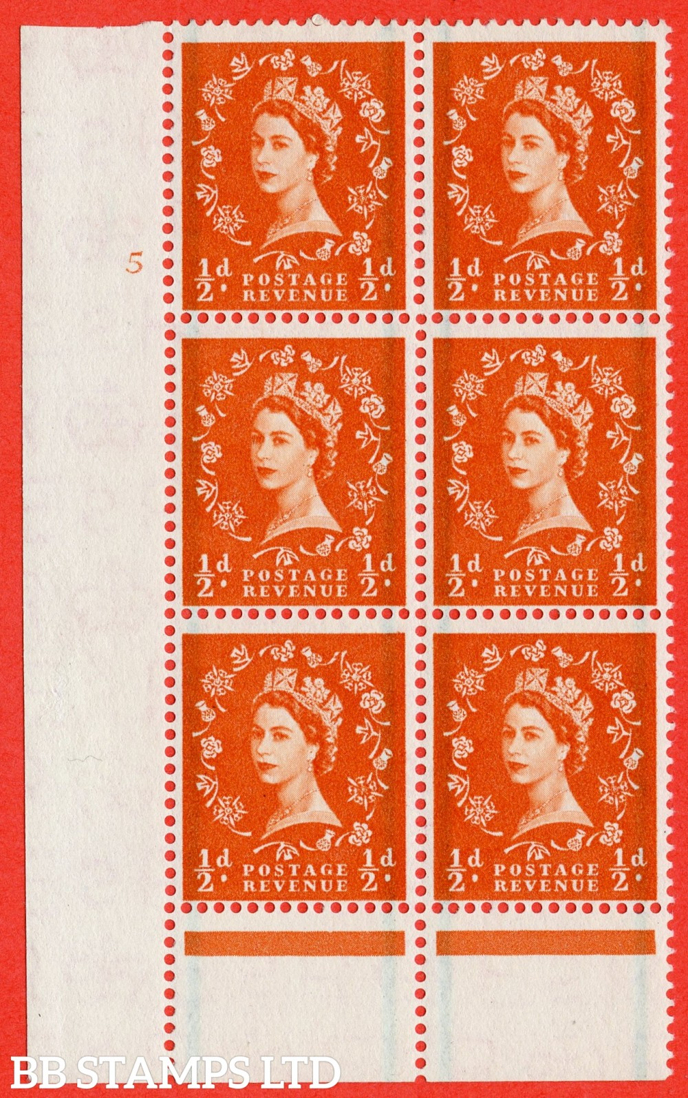 "SG. 561. S3. ½d Orange - Red. A superb UNMOUNTED MINT "" cylinder 5 no dot "" control block of 6 with perf type B I/P."