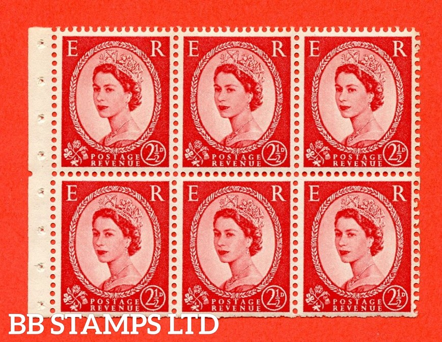 SG. 519 L. SB80. 2½d carmine - red. A fine UNMOUNTED MINT. Complete booklet pane of 6. Perf type (Iem) with Trimmed PERFS.