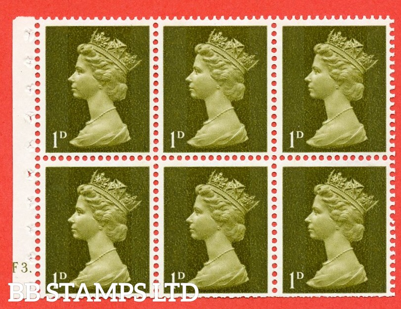 UB1 1d 2 Bands. UNMOUNTED MINT Complete Pre decimal machin Cylinder Pane of 6 F3 Dot . (UB1) Perf Type Iet. Trimmed Perfs.