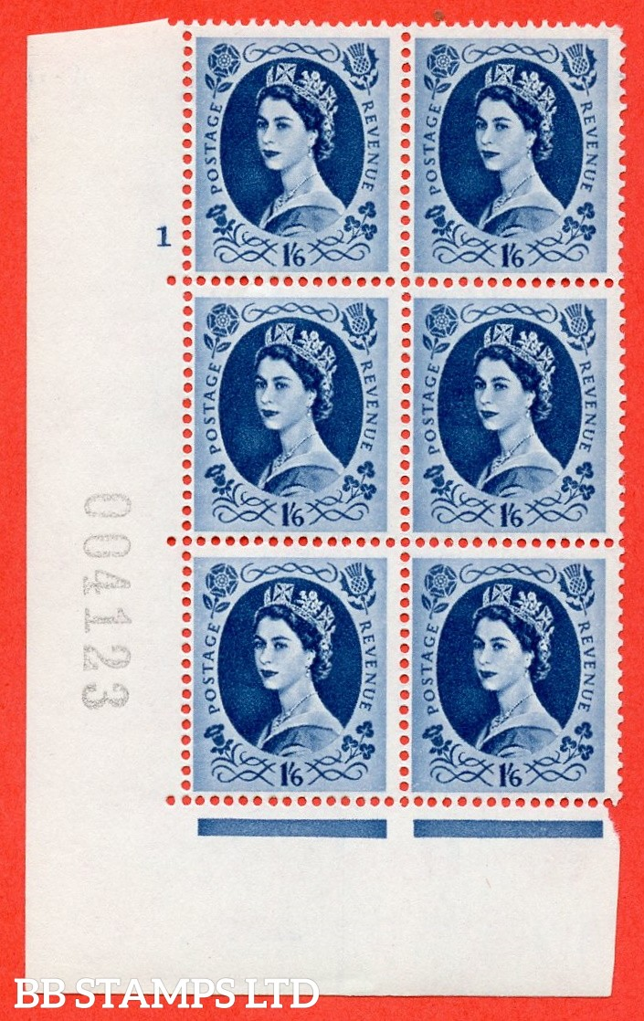 "SG. 586. S153. 1s 6d. Grey-blue. A superb UNMOUNTED MINT "" cylinder 1 no dot "" control block of 6 with perf type A E/I. WHITE paper."