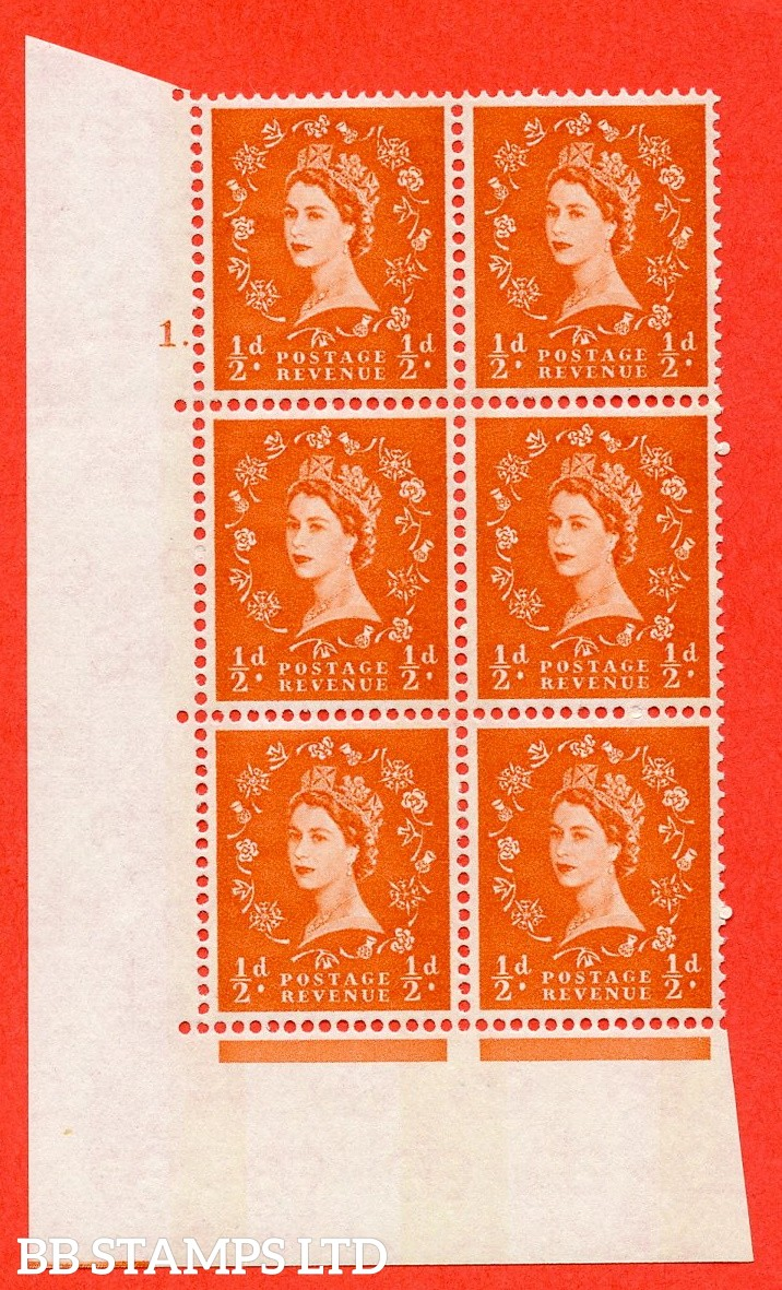"SG.610. S12. ½d Orange red. A superb UNMOUNTED MINT "" cylinder 1 dot "" control block of 6 with perf type A (E/I). violet Phosphor 8mm Band."