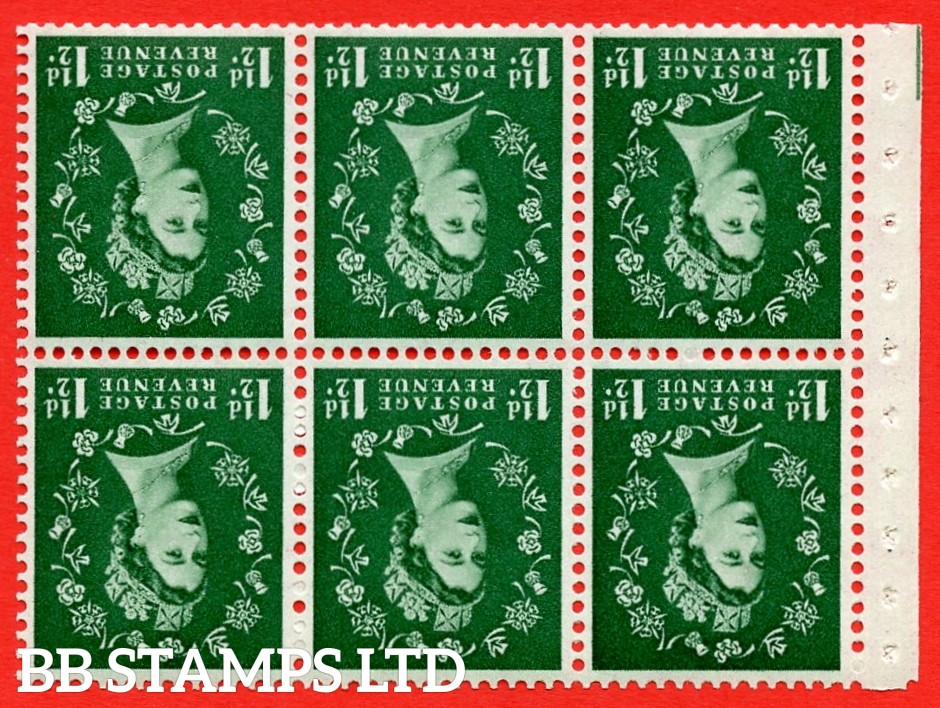 SG. 517wi. SB59a. 1½d green. A fine UNMOUNTED MINT. WATERMARK INVERTED. complete booklet pane of 6. Perf type (Iet) with Good perfs.