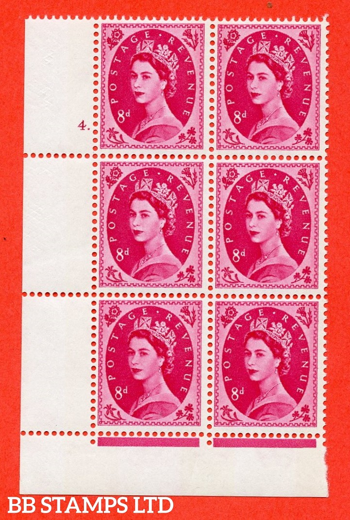 "SG.617b. S123. 8d Magenta. A fine mounted mint "" cylinder 4 dot "" control block of 6 with perf type FL (P/E). violet Phosphor 9½mm Band."