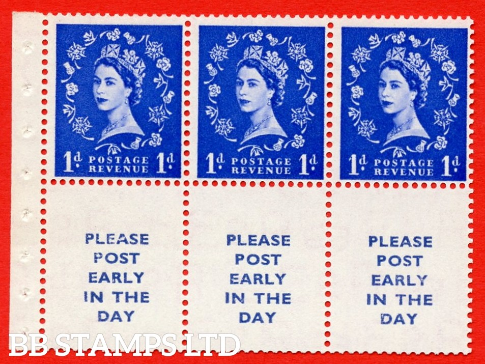SG. 516La. SB24. 1d ultramarine. A fine UNMOUNTED MINT Complete booklet pane of 6. Perf type (Ieb) with Good PERFS.